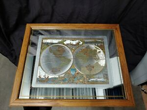 "Nova Totivs Terrarvm Orbis AC Hydrographica Tabvla World Map In Glass 18x22"""
