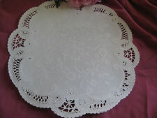 """10 pcs VTG 12"""" INCH ROUND OFF WHITE IVORY LACE PAPER DOILY FRENCH CRAFTS WEDDING"""