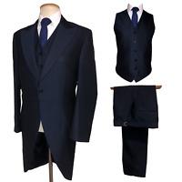 MENS NEW NAVY BLUE MOHAIR WEDDING DRESS TAILCOAT SUIT JACKET TROUSERS WAISTCOAT