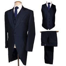 Vestido de Boda hombre Nuevo Mohair Azul Marino Frac Traje Chaqueta pantalones chaleco