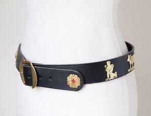 Vintage Appenzeller Belt Leather Oktoberfest Black - 110 cm - Large