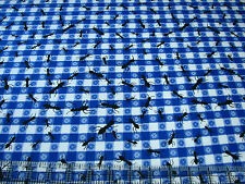 2.2 Yards Quilt Flannel Cotton Fabric- AE Nathan Picnic Tablecloth Blue Ants