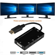 New 4 In 1 Display Port DP To VGA HDMI DVI Audio USB Adapter Converter Splitter