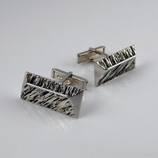 Geometric Abstract Modernist Sterling Silver Mens Cuff Links Cufflinks Vintage