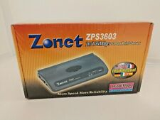 Zonet ZPS3603 3 Port 10/100Mbps LPT Print Server RJ45 LPT - Sealed New Old Stock