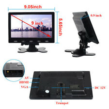 HD 9 Inch Ultra Thin TFT-LCD HD Monitor Video Audio HDMI VGA w/Speaker + Adpater
