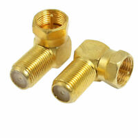2 Pcs L Shape F Type Male  to Female Jack RF Coaxial Connector