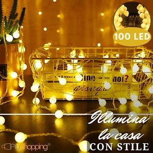 CATENA LUMINOSA SERIE LUCI 100 LAMPADINE LED DA INTERNO LUCE CALDA 10 METRI
