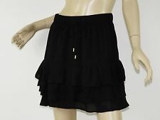 BANANA REPUBLIC Black Ruffle Tiered Elastic Drawstring Waist Mini Skirt S 4
