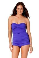 Anne Cole Purple Twist Front Ruched Bandeau One Piece Maillot Size 6 Swimsuit