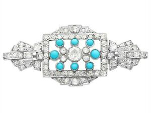 Vintage Art Deco 1.71 Ct Diamond, Turquoise and 18k White Gold Brooch