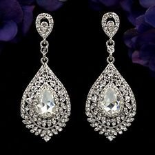 Rhodium Plated Clear Crystal Wedding Bridal Chandelier Drop Dangle Earrings 7863