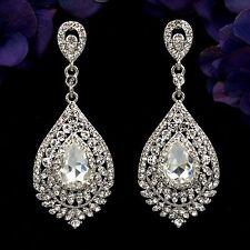 Rhodium Plated Clear Crystal Wedding Bridal Chandelier Drop Dangle Earrings 7863