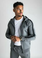 Gym King Mens New Long Sleeve Full Zip Poly Tracksuit Top Hoodie Basis Dark Grey