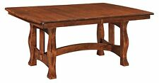 Amish Transitional Trestle Dining Table Solid Wood Rectangle Extending 42x72