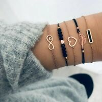 5Pcs/set Fashion Love Heart Infinity Bracelets Boho Women Beaded Bangle Jewelry