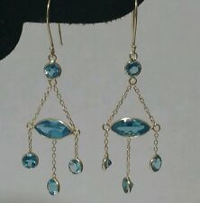 Valentines 14k Yellow Gold Blue Topaz Earrings