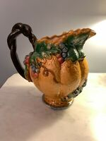 Vintage Majolica ceramic art pottery pitcher from Italy basket grapes leaves