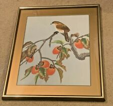 Vintage Bird In Persimmon Tree Embroidery Handmade Stitched Picture in Frame Art