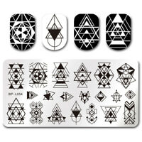 BORN PRETTY Nagel Schablonen Nail Art Stempel Plate Geometrie DIY Design BP-L054