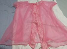 Vintage Berklift Nylon All Sheer Baby Doll Negligee Bright Rosy Pink Sz. M.