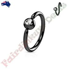 316L Surgical Steel Black Nose/Eyebrow Ring with Fixed Clear CZ Gem Ball