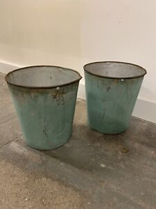 antique metal bucket Set Of Two