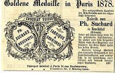 Suchard Chocolat Suisse * Goldene Medaille Paris 1878 * Historische Reklame 1879
