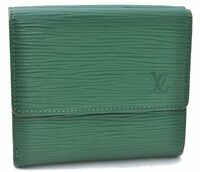 Auth Louis Vuitton Epi Porte Monnaie Billets Cartes Credit Wallet Green LV A9715