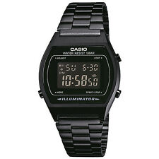 Classic Digital Watch with Stainless Steel Band - Black with Black Dial - Casio