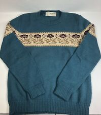 "Peruvian Connection Sweater SZ M-L 100% Alpaca Teal Floral 36"" Bust Nice Career"