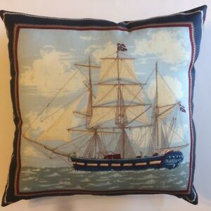 NEW ANCIENT MARINER SHIPS ON 15 x 15 COMPLETE COTTON PILLOWS - YOU CHOOSE STYLE