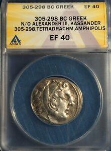 GREECE / MACEDON:Kassander/Alexander III AR Tetradrachm =305-298 BC ANACS XF-40!