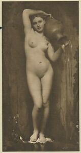 Rare 120 yr Old Antique INGRES Art Print LA SOURCE Nude Woman Portrait circa1901