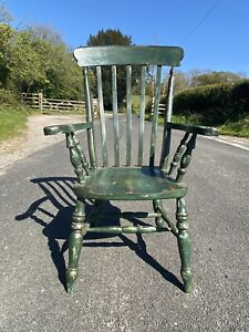 Large Oversized Slat Back Farmhouse Grandfather Chair Green Painted Distressed