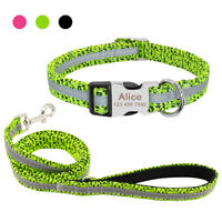 Reflective Personalized Dog Collar and Soft Padded Leash set Engraved Buckle S-L