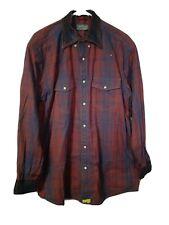 Orvis Trout Bum Mens Sz L Red Blue Plaid Snap buttons Western Shirt