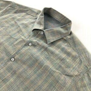 Tommy Bahama Men's Silk/Wool Long Sleeve Button Shirt Green Plaid • Large