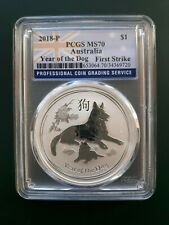 2018 Australia 1 oz 9999 Silver Year of the Dog - PCGS MS 70 , FIRST STRIKE !!