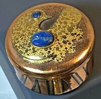 Copper Brass & Lapis Lazuli Bird & Abstract Design Chile Trinket Box