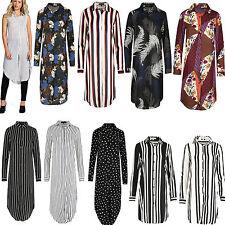 Womens Long Shirt Ladies Striped Top Midi Length Collar Dress Blouse