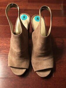 NWOB Michael Kors Anise Open Toe Light Brown Block Heels sz 8