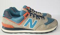 NEW BALANCE 574 Running Shoes Gray Blue Orange White Mens Size 10 ML574SOE