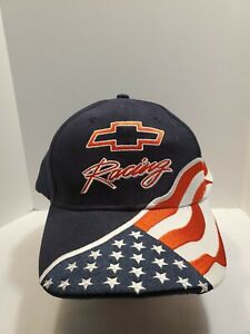 Chevrolet Racing Stars & Stripes Hat Cap Embroidered Hook & Loop Red White Blue