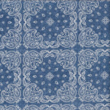 White Paisley Design Squares on Denim Blue Quilting Fabric FQ or Metre *New*