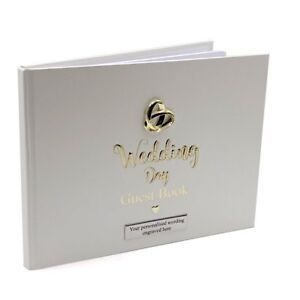 Personalised Wedding Guest Book Gift With Raised Intertwined Rings 280157-P