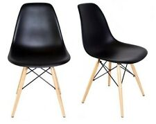 Eames Style DSW Molded Black Plastic Shell Chair with Wood Eiffel Legs(Set of 2)