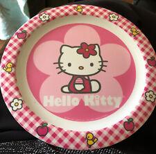 "Hello Kitty Flowers 8.5"" Plastic Plate By Trudeau 1976 & 2010 Unique Excellent"