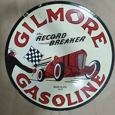 GILMORE GASOLINE 2 SIDED VINTAGE PORCELAIN SIGN 30 INCHES ROUND
