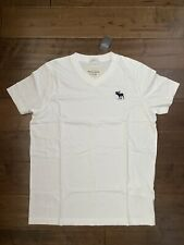 New Abercrombie & Fitch Muscle Fit Men's Cotton V-neck T-Shirt, White, Size L